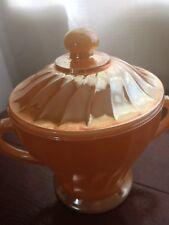 Vintage Anchor Hocking Fire King Peach Lustre Sugar Bowl Mint