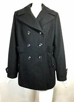 Apt 9 Gray Peacoat Wool Blend Double Breasted Women's Size Large L Coat