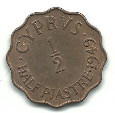 VERY NICE HIGH GRADE AU 1949 CYPRUS 1/2 PIASTRE COIN-FEB028