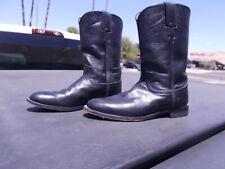 Used Black Justin Ropers Western Cowgirl Cowboy Boots Ladies Sz 8 B