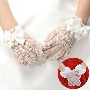 4-15 Years Girls White Lace Gloves Manmade Pearl Mesh Wedding Flower Girl Gloves