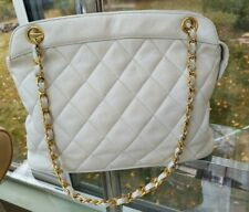 AUTH  RARE Chanel White Leather Quilted Shoulder Bag Chains Crossbody 80's