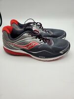 Saucony Ride 9 Men's Running Shoes Size 11W  Wide Gray Red Black White