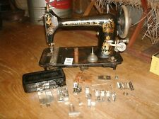 Vintage Minnesota A Treadle Sewing Machine W Bullet Shuttle Bobbins Attachments
