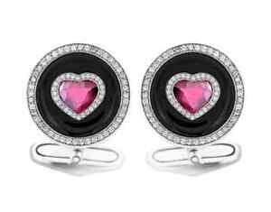 1.98CT Heart Shaped Ruby, Genuine White CZ & Black Onyx Gorgeous Men's Cufflinks