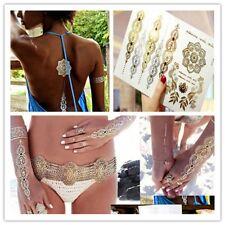 Silver Gold Metallic Flash Temporary Tattoos Temporary Body Art Tattoo Sticker C