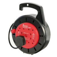 Cassette Cable Reel 230V 4 Way Socket 10A 10m Extension Lead Electrical Mains