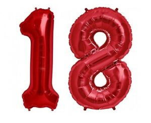 """16"""" 18 Red Number Balloons 18th Birthday Party Anniversary Foil Balloon Decor US"""