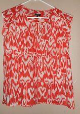 TALBOTS orange and white v-neck short sleeved EMPIRE WAIST Top EUC SZ 4