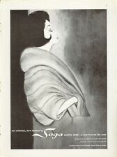 1961 Saga Fashion Gunther Jaeckel Mink Fur Coat Art PRINT AD