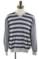TOMMY HILFIGER Mens V-Neck Jumper Sweater XL Grey Stripes Cotton