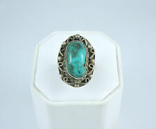 Vintage Sterling Silver Chunky Turquoise Mexico Ring Size 7.5