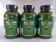 (Lote de 3) Irwin Naturals biotina-extracto de bambú 6000 60 geles de suave cada uno, Exp 4/21
