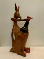 Vintage 1960s Novelty Australian KANGAROO WINE BOTTLE HOLDER wooden MCM kitsch