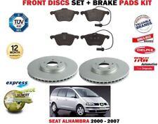 Para Seat Alhambra 2.8 V6 2000-2007 Delante 313mm Juego Discos Freno + Pastillas