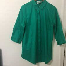 Chico's Womens Blouse Size 2 Green 3/4Sleeve Front Buttons 100%cotton#242