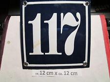 Hausnummer  Emaille Nr. 117 weisse Zahl auf blauem Hintergrund 12 cm x 12 cm