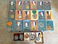 VTG 60s AAU Junior Olympics Swimming Award Medal Ribbon LOT of 24