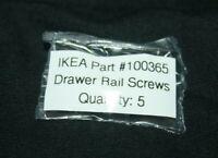 Lot of 5 Genuine IKEA Drawer Rail Screws, Part #100365