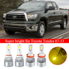 4Pcs LED 9005+H11 Headlight Kit High Low Beam Yellow Set for Toyota Tundra 07-13