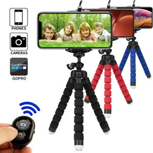 Portable Mini Flexible Foam Tripod Octopus Stand+Bluetooth remote For Cell Phone