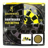 "NEW Browning Buckmark 18"" Dart Board & 6 Darts 2 Double Sided Flechettes"
