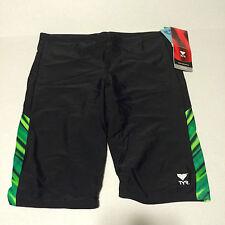 TYR Mens Jammer Swim Suit Size 36 Black Green Stripe Splice New Lycra Spandex