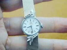 10k White Gold Filled Ladies Omega Diamond Wrist Watch Mechanical Mesh Band