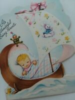 Vtg 1950s BABY in SAIL BOAT Cradle Wonderful Parents Congrats GREETING CARD