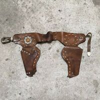 Vintage Kids All Leather Gun Belt With two Holsters  Unmarked 28""