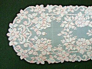 Lace Table Runner Pink and Blue on White Floral design  53 x 12