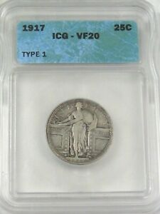 VF 1917 T-1 Type 1 Silver Standing LIBERTY Quarter ICG VF20.  #9