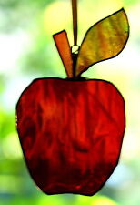 AMBER RED APPLE hand crafted Real Stained Glass SUNCATCHER Ready to Hang Gifts