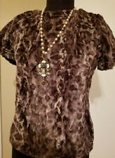 Ivy Jane Casual Leopard soft texture Top-Blouse with short sleeve and Zip, Small