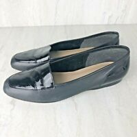 Enzo Angiolini Liberty Womens Black Patent & Leather Flat Loafers Size 7.5M