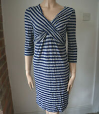 BLOOMING MARVELLOUS stretch maternaty pregnancy dress blue grey stripey 10 S