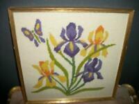 VINTAGE NEEDLEPOINT IRIS FLOWERS GILT FRAME BUTTERFLY PURPLE YELLOW MID CENTURY