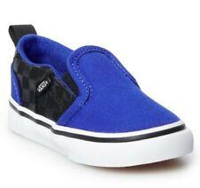 New Vans Asher V Toddler Boys Skate Shoes Color: Emboss Black Blue, Size: 5 T