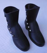 Cast Metal Black Boots with White Buttons - Set of 2