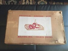 VINTAGE Wood Carving Board w/ BOX Metal Spikes & Fork 'turns/swivels' 1960's USA