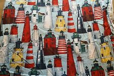 "4 + yards Lighthouses Nautical Cotton Quilting Fabric Alexander Henry 177""x42"""