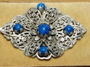Art Deco 30s Czech silver filigree & Lapis glass floral brooch - tests as silver