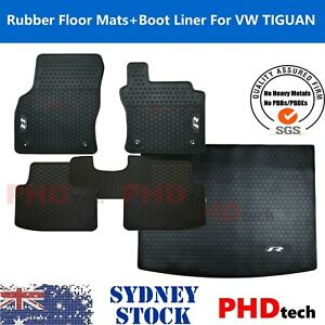 All Weather Rubber Floor Mats & Boot Liner Set fit VW Tiguan R-Line 5 Seat