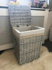 Large Grey Wicker Laundry Basket Rattan Storage Solution Shabby Chic Rustic