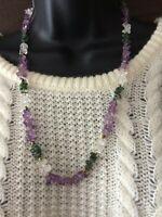 Vintage suffragette Amethyst Moss agate Quartz Necklace
