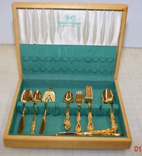 Vintage 1847 Rogers Bros Gold Plated Golden Silverware Flatware Rose Pattern