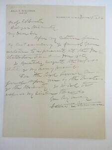 SIGNED Vice President Adlai Stevenson 1906 HAND WRITTEN Personal Letter ORIGINAL