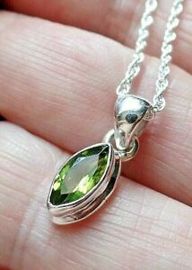 Sterling Silver and Marquise AAA Peridot Necklace August Birthstone