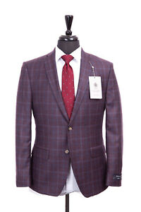 Savile Row Suit Alexandre London Berry Check Reda Wool 40S W34 L29