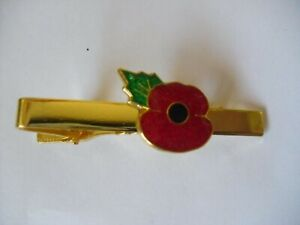 Poppy Tie Clip with Gold Coloured Bar New in Packet ~Freepost~